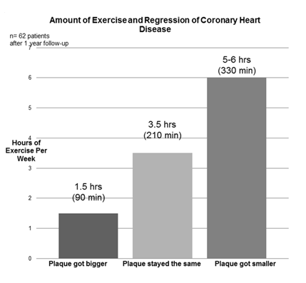 Bar graphs showing blockages getting smaller with more hours of exercise done per week. 1.5 percent decrease in blockages with 1.5 hours of exercise in a week. 3.5 percent decrease in blockages with 3.5 hours of exercise in a week. 6 percent decrease in blockages with 5 to 6 hours of exercise in a week.